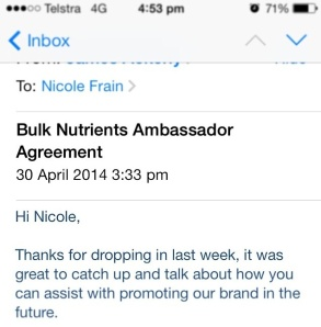 Bulk Nutrients Sponsorship agreement
