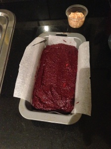 Beetroot mixture ready for the oven!