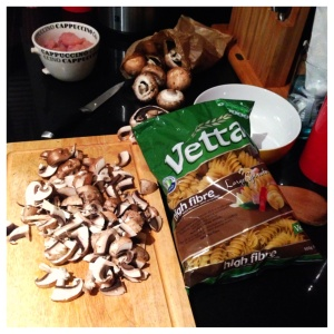 Vetta High Fibre Pasta being used in a yummy cream mushroom pasta!