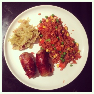 Sauerkraut with homemade sausages and fried rice