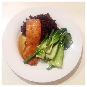 teriyaki salmon with black rice and asian greens