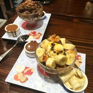 MaxBrenner - banana split waffle sundae and chocolate brownie waffle sundae